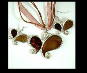 Butterfly Enamel Necklace and Earrings Set
