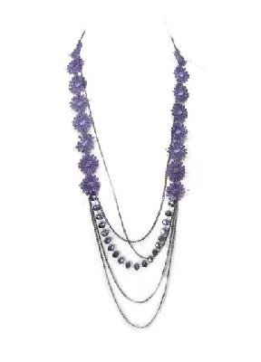 Purple Floral Lace Glass Metal Chain Necklace