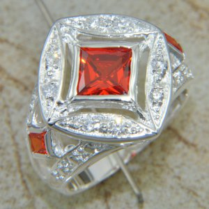 Silver Red Quartz Ring Size 9.5