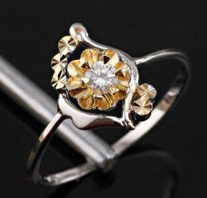 Silver Zircon Swirl Ring Size 8