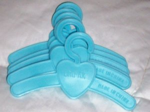 BABY DOLL CLOTHES HANGERS SET OF 6 BLUE