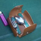 RARE VINTAGE SOVIET RUSSIAN USSR FOLDING STAINLESS EATING TOOLS SET & CASE1975
