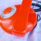 VINTAGE SOVIET CZECHOSLOVAKIA ROUND SHAPE ROTARY DIAL  PHONE TESLA ORANGE  COLOR