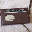 ANTIQUE RARE USSR SOVIET AM LW PORTABLE RADIO SELGA RED  IN LEATHER CASE 1970