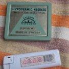 Vintage Syringes Needles Set  In Original Tin Box Made In Sweden
