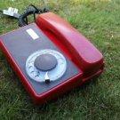 VINTAGE  SOVIET CZECHKOSLOVAKIA  ROTARY DIAL PHONE TESLA  RED COLOR TA-68 1978