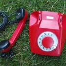 RARE VINTAGE SOVIET CZECHOSLOVAKIA ROTARY DIAL PHONE TESLA RED COLOR