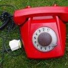 RARE VINTAGE SOVIET CZECHOSLOVAKIA ROTARY DIAL PHONE TESLA RED COLOR 1974
