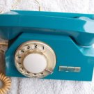 VINTAGE SOVIET USSR RUSSIAN ROTARY DIAL PHONE TA 72 BLUE COLOR