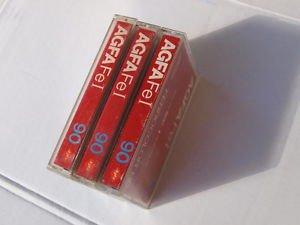 VINTAGE  AGFA Ferrocolor HD  FE I 90 Red Color 3 Cassettes Lot  Made In Germany