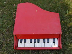 Antique Soviet USSR Wooden Painted Red Wood Toy Baby Grand Piano For Restoring