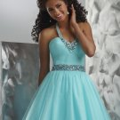 A-line Strapless Halter Beaded Evening Dresses Prom Formal Gowns MS092
