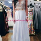 A-line Long White Evening Prom Dresses Party Formal Bridal Gowns 132-09