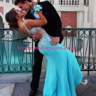 Sexy Beaded Long Blue Evening Prom Dresses Party Formal Bridal Gowns 06