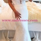 Mermaid Long White Lace Prom Evening Party Formal Dresses 16