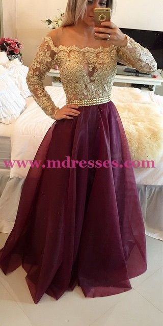 Long Sleeve Gold Lace Wedding Party Prom Evening Party Formal Dresses 25