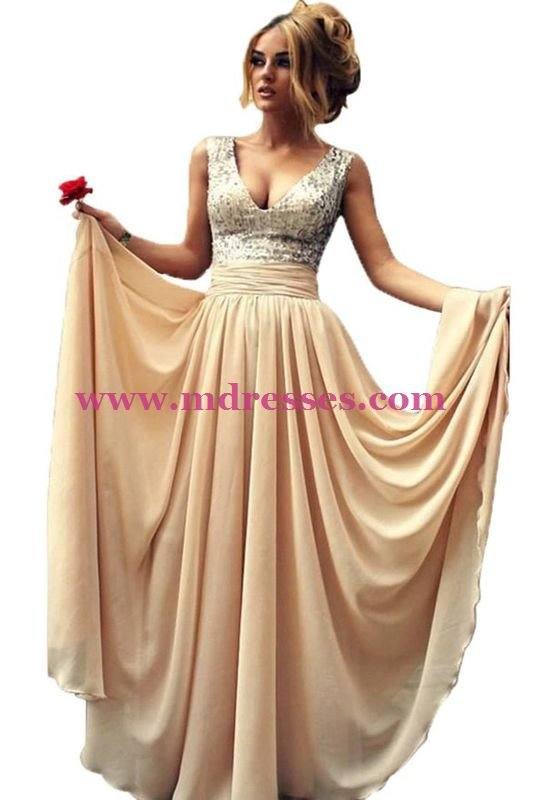 Sequins Chiffon Long Wedding Party Prom Evening Party Formal Dresses 29