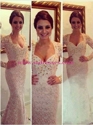 Mermaid Long Sleeve Lace Wedding Party Prom Evening Party Formal Dresses 30