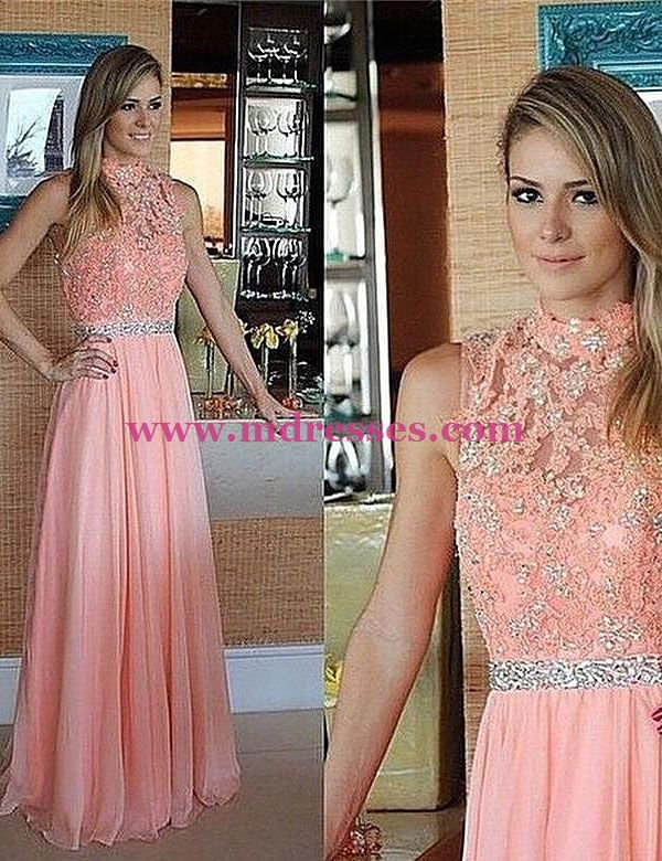High Neck Lace Appliques Chiffon Wedding Party Prom Evening Party Formal Dresses 31