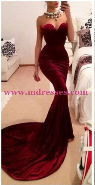 Mermaid Sweetheart Long Red Wedding Party Prom Evening Formal Dresses 36