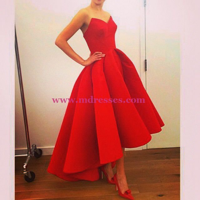 High Low Sweetheart Red Wedding Party Prom Evening Formal Dresses 37
