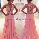 Long Pink V-neck Lace Wedding Party Prom Evening Formal Dresses 47