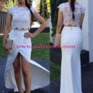 Two Pieces Lace Long White Wedding Party Prom Evening Formal Dresses 50