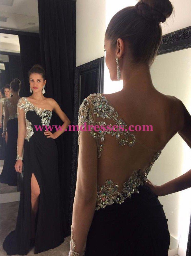 One-Shoulder Beaded Black Long Wedding Party Prom Evening Formal Dresses 56