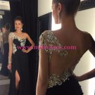 One-Shoulder Beaded Black Long Wedding Party Prom Evening Formal Dresses 56