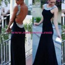 Backless Beaded Black Long Wedding Party Prom Evening Formal Dresses 57