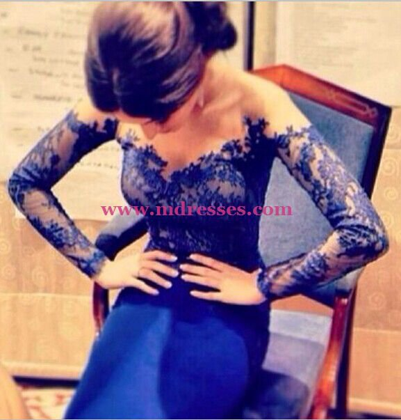 Mermaid Off-the-Shoulder Long Sleeve Lace Royal Blue Wedding Party Prom Evening Formal Dresses 59