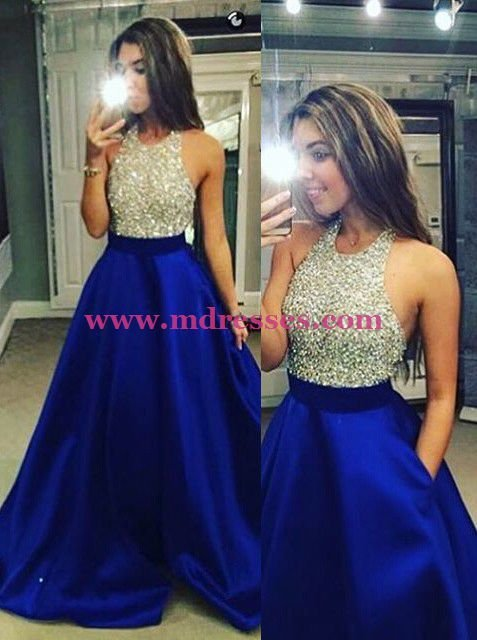 Beaded Royal Blue Long Wedding Party Prom Evening Formal Dresses 62