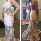 Sheath Lace Appliques White Long Wedding Party Prom Evening Formal Dresses 64