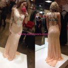 Sheath Lace Long Pink Wedding Party Prom Evening Formal Dresses 66