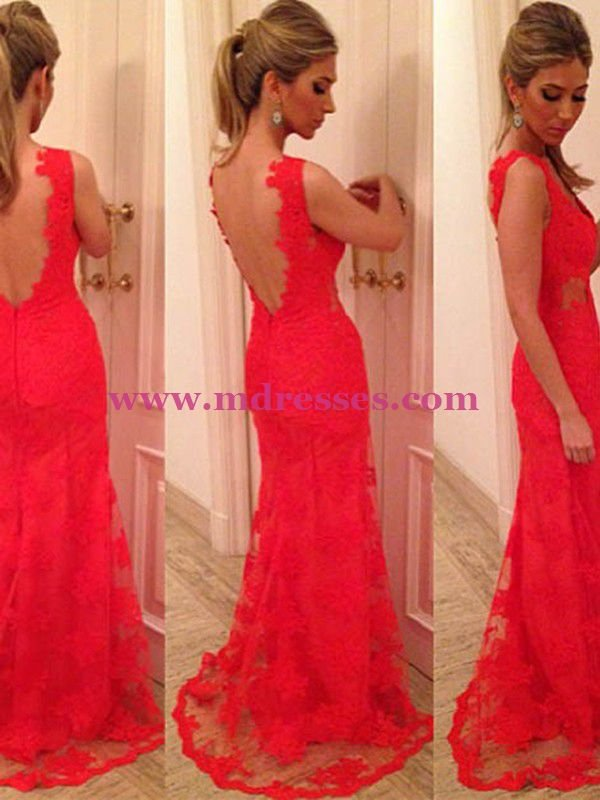 Sheath Lace Long Red Wedding Party Prom Evening Formal Dresses 70