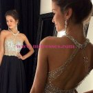 Black Beaded Long Wedding Party Prom Evening Formal Dresses 74