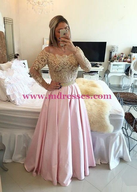 Long Sleeve Gold Lace Appliques Long Pink Wedding Party Prom Evening Formal Dresses 75