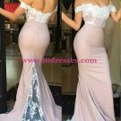 Trumpet/Mermaid Off-the-Shoulder Lace Long Prom Evening Formal Bridesmaid Dresses 81