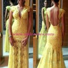 Long Yellow Lace Prom Evening Formal Dresses 91