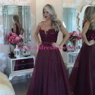 A-Line Beaded Lace See Through Prom Evening Formal Dresses 96