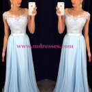 Long Blue Lace Chiffon See Through Prom Evening Formal Dresses 97