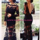 Long Sleeves Low V-Back Black Lace See Through Prom Evening Formal Dresses 98