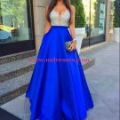 A-Line Silver Sequins Blue Satin Long Prom Evening Formal Dresses 107