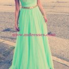 Cap-Sleeves Long Green Chiffon Prom Evening Formal Dresses 108