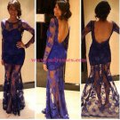 Long Sleeves Low V-Back See Through Royal Blue Lace Appliques Prom Evening Formal Dresses 110