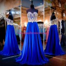 A-Line Sweetheart Gold Royal Blue Long Prom Evening Formal Dresses 113