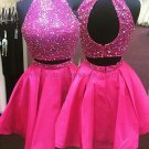 Two Pieces Sequins Short Hot Pink Prom Evening Homecoming Cocktail Dresses 119