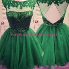 Short Green Sequins Lace Appliques Prom Evening Homecoming Cocktail Dresses 126