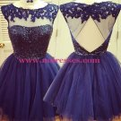 Beaded Short Purple Lace Appliques Sequins Tulle Prom Evening Homecoming Cocktail Dresses 129