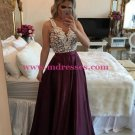 A-Line Straps Sleeveless See Through Back Lace Long Prom Evening Formal Dresses 131